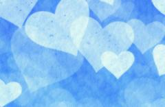 Dreamy light snow hearts on blue background Stock Illustration