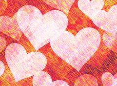 Vintage Paper Texture with painted hearts Stock Illustration