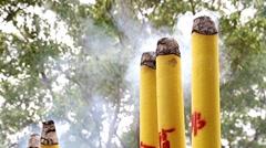 Giant Burning Incense sticks at Hong Kong Stock Footage