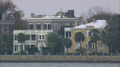 Houses Facing Charleston Harbour Stock Footage