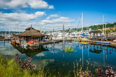 Boats docked at Lake Union, in Seattle, Washington. Stock Photos