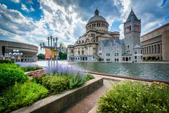 Gardens and the First Church of Christ, Scientist, in Boston, Massachusetts. Stock Photos