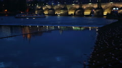 Beautiful Cityscape of Prague at night with Charles Bridge Karluv Most over Stock Footage