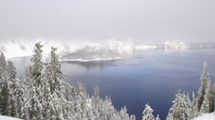 Crater Lake National Park in Winter Stock Footage