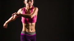 Athletic Asian Woman Working Out Stock Footage