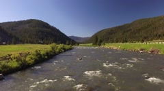 Gallatin River Fly over forward Stock Footage