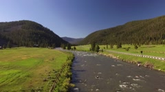 Gallatin River Jib down Stock Footage