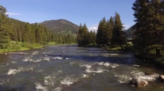 Gallatin River Fly over Stock Footage