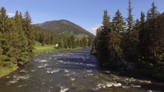 Gallatin River Fly over backwords Stock Footage