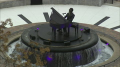 Ray Charles Memorial In Riverfront Park, Albany Stock Footage