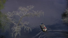 Hunters In Small Boat Stock Footage
