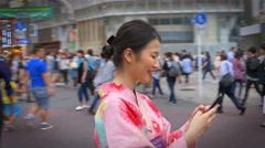 Pretty Japanese Woman Kimono Text Message Stock Footage