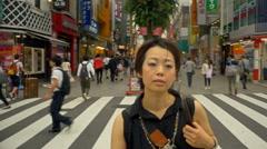 Japanese Woman Crosswalk Tokyo Japan Stock Footage