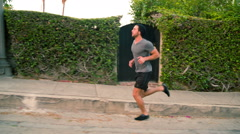 Athletic Male Workout Running Stock Footage