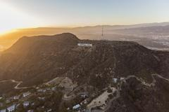 Hollywood Sign Griffith Park Los Angeles Sunset Stock Photos