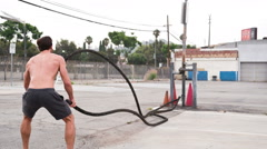 Athletic Male Workout Crossfit Slow-Motion Stock Footage