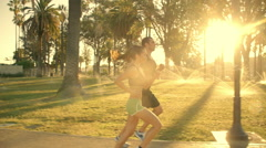 Jogging Slow-Motion Athletic Couple Workout - stock footage