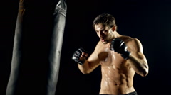 Athletic Male Workout Boxing Slow-Motion - stock footage