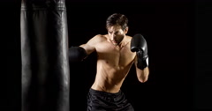 Athletic Male Workout Boxing Slow-Motion Stock Footage