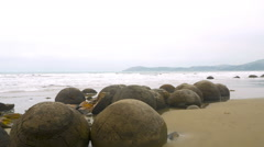 Moeraki Boulders in New Zealand Stock Footage