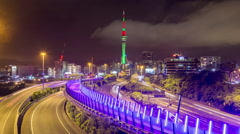 Auckland New Zealand Freeway Time Lapse Stock Footage