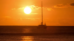 Sunset Time-Lapse Ocean Sailboat Stock Footage