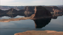 Sun, Clouds And Rock Reflections In Lake Powell Stock Footage
