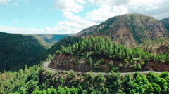 Aerials - Sedona, Arizona Highway 89A Switchbacks Stock Footage
