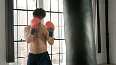 Athletic Male Boxing Slow Motion - stock footage