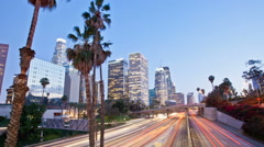 Los Angeles Night Time-Lapse Traffic Skyline Stock Footage