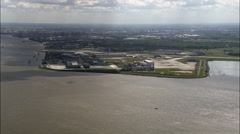 Approaching Hamburg Along The Elbe Stock Footage