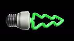 Christmas Compact Fluorescent Lightbulb Stock Footage