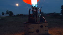 Balloon Crew Getting Ready to Take Off. Fire Burning Stock Footage