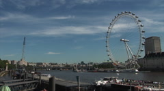 London eye with blue sky Stock Footage
