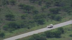 Truck Approaching Cross Roads Stock Footage