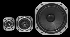 Closeup of three stereo speakers - stock photo