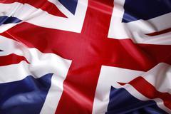 Closeup of British Union Jack flag Stock Photos