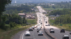 Heavy traffic heading north to cottage country for long holiday weekend Stock Footage