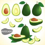 Set of avocado fruit in various styles vector format Piirros