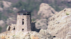 Harney Peak And Look Out Tower Stock Footage