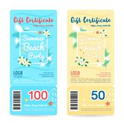 Gift certificate, voucher, coupon in summer beach party background Piirros