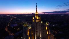 Stalin high-rise building Russian skyscraper. Moscow Kudrinskaya square. Unique  Arkistovideo
