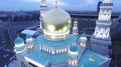 Night shot of Moscow Cathedral Mosque. New religion construction in Russia. Stock Footage
