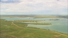Belle Fourche Reservoir And Orman Dam Stock Footage