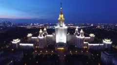 Beautiful evening shot of MSU Moscow State University. Unique night Aerial drone Arkistovideo