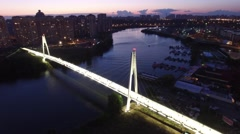 Pedestrian cable bridge in modern Moscow. Unique sunset evening aerial drone Stock Footage