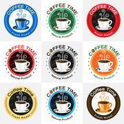 Set of retro coffee badge label logo design - stock illustration