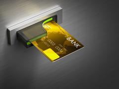 Debit card in a cash. - stock illustration