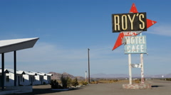 Zoom Out - Roy's Abandon Hotel on Route 66 California - 1950's Style Stock Footage