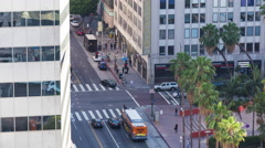 6th Street in Downtown Los Angeles Traffic Intersection Day Timelapse Stock Footage